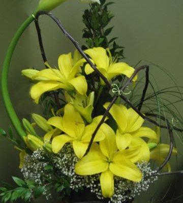 Bouquet fleurs jaues., bonjour ! AO-4