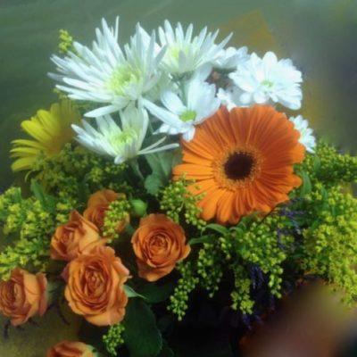 Bouquet fleurs orange. Bon Anniversaire! AE-12