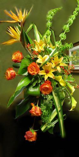 Gerbe fleurs funéraire. Chaleur intense ! FG-11